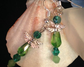 Delicate Glass Dragonfly Earrings
