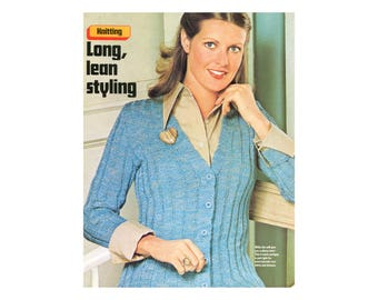 Long Ribbed Cardigan Knitting Pattern - Long sleeve, v-neck, button front