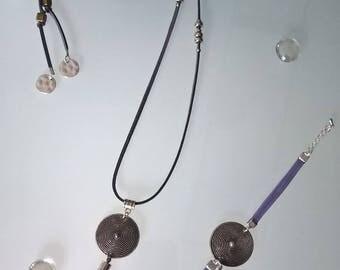 Pretty dress in grey/Lavender suede with handmade tassels
