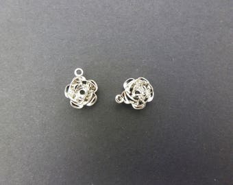 2 small simple yet rhodium silver plated 10mm (XBA05)
