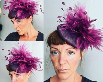 Purple wedding hat, fascinator, ascot hat