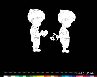 2 small scapbooking cut boy child heart flower baby birth embellishment die cut scrap album deco