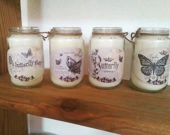 Set of 4 candles theme butterflies butterfly postcard