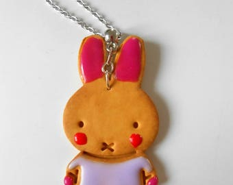 Bunny cookie necklace