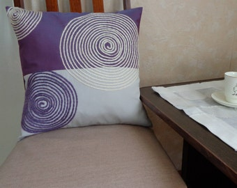 """Grey-purple pillow case embroidery on the pillow with  Gift for birthday  Decorative pillow Home decor 16""""x16"""" (40x40cm)."""