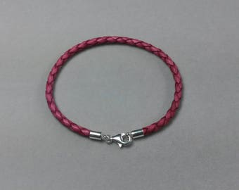 Sterling Silver fuchsia braided leather bracelet
