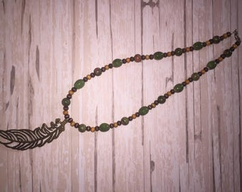 Green and brown necklace, olive green, olive green necklace, emerald necklace, feather necklace, beaded necklace, green beaded necklace