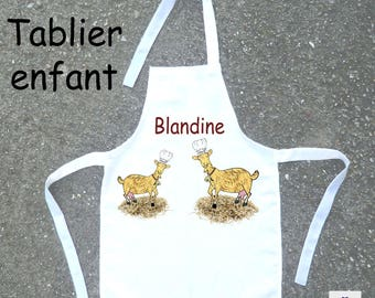 Cooking apron child goat to be personalized with a name (ex. Blandine)