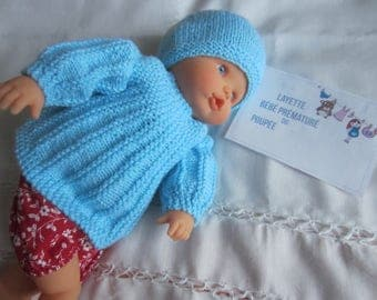 Size 45-48 cms - hand made knit clothing for Doll or Preemie - jacket and hat