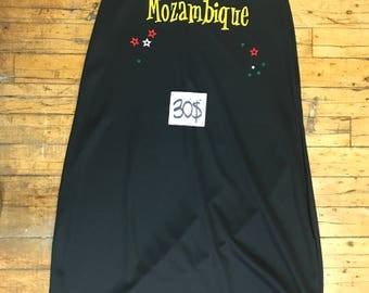 Black Cotton Mozambique Girls Fitted Dress