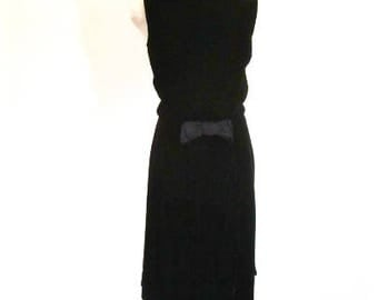 M L 50s 60 Black Velvet Cocktail Dress Sleeveless Bow Button Soft Satin A-line Medium Large