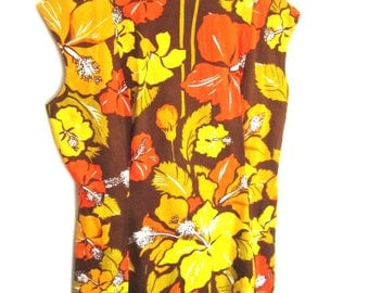 L 50s 60s Dress Day Floral Yellow Red Brown Cotton Sleeveless Shift Hawaii Tiki Island Summer VLV Extra Large