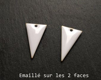 Set of 2 white enamel Triangles, 22x13mm charm sequin studded with 2 sides