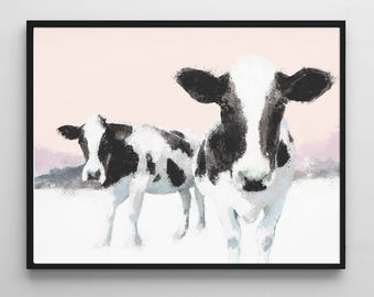 Cow painting, animal portrait, download now