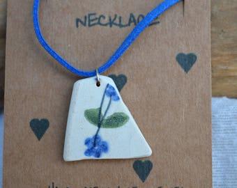 Sea tumbled pottery neckace