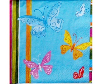 Set of 3 colorful ANI059 butterflies paper napkins blue background