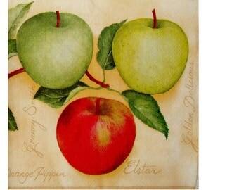 Set of 3 napkins FRU006 different apples