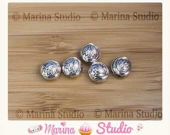5 etched silver-plated 7x8mm lotus beads