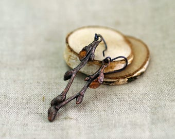 Linden Branch Earrings with Carnelian, Copper Electroformed, carnelian earrings, twig earrings