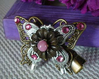 Bronze, silver and pink hair/jacket/scarf clip