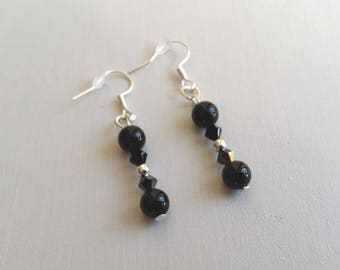 Black Agate natural stones and Swarovski crystal earrings. Unique piece