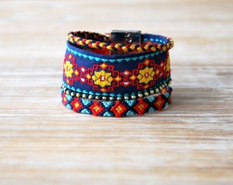 Brazilian ethnic cuff Navy blue red yellow stripe Brasilda Bali