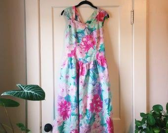 Vintage 80s Floral Tea Length Dress (Lanz Originals)