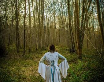 Medieval dress / elven velvet and Brocade, large collar