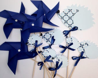Set of 7 cake topper 4 pinwheels and Hedgehog, customizable upon request! Paper 210g