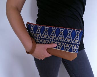 Pouch, clutch, pouch was Faux camel leather and jacquard