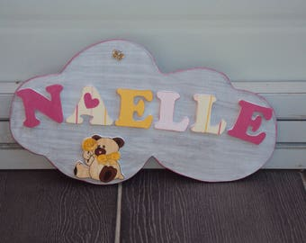 Cloud door sign for kids to personalize