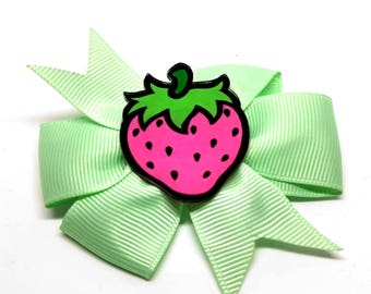 large hair bow - Minty pink Strawberry