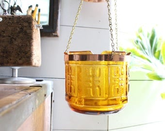 Amber Planter - Vintage Mid Century Glass