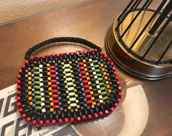 Pristine 1930s 1940s Suzanne Colorful Wooden Beaded Small Purse Made in Czechoslovakia