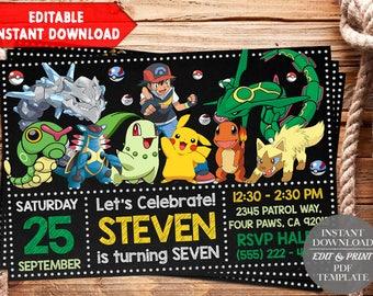 INSTANT DOWNLOAD-Pokemon Invitation, Pokemon Birthday Invitation, Pokemon Invites, Pokemon Thank You Tags, Pokemon Editable Invitation