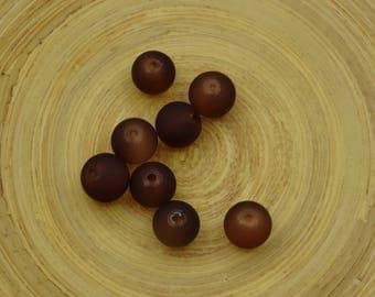 20 beads round 10mm Brown glass
