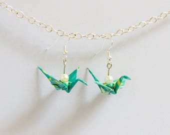 Pearl and turquoise origami crane earrings