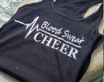 Blood Sweat Cheer Racerback Tank Top