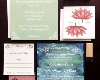 Printable - Monet Watercolor Wedding Invitation Set