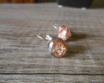 Silver earrings in brown cabochon marble effect