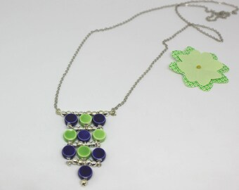 Ceramic collection: Necklace blue and green - ceramic beads offered earrings