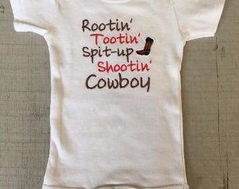 Cowboy Onesie, Rootin' Tootin' Spit-up Shootin Cowboy, baby boy embroidered onesie