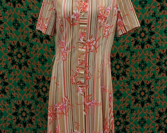 1970's beige and pink floral striped dress