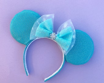Elsa Mickey Frozen Ears Disney Inspired Minnie Ears with Snowflake