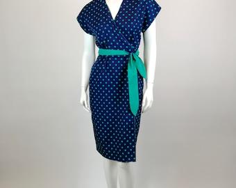 VINTAGE 70's S. Howard Hirsh Green and Blue Polka Dot Wrap Dress Sz 6