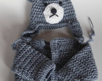 Blue Bear Sweater and Hat Set