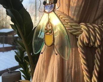 Stained glass suncatcher ~  Light blue moth  ~ Original design ~  Tiffany technique ~ Stunning home decor ~ Art Glass ~ Handmade