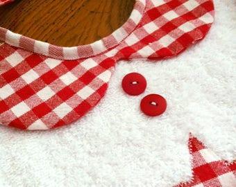 baby bib collar cotton Peter Pan very chic reversible red white gingham