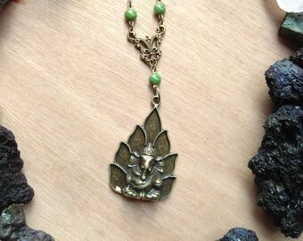 Ganesh necklace & green beads