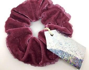 Velour sparkly frill scrunchie